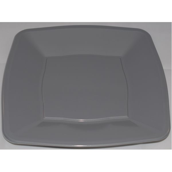 10 x Silver Square Plastic Party Side Plates 7\
