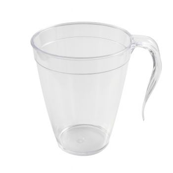 Clear Strong Plastic Coffee / Tea Mugs with Handle 8oz – Case of 120