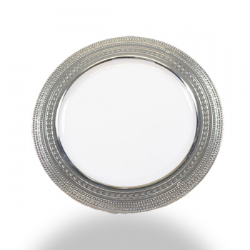 "120 x 7"" White Strong Plastic Side Plates - Deluxe Silver Trim"