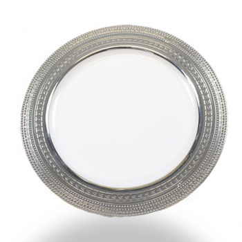 "120 x 9""  White Strong Plastic Plates - Deluxe Silver Trim"