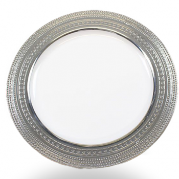 "120x 10""  White Strong Plastic Plates - Deluxe Silver Trim"