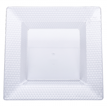 120 x Clear Square Hexagon Design Plastic Plates 10.5 inches