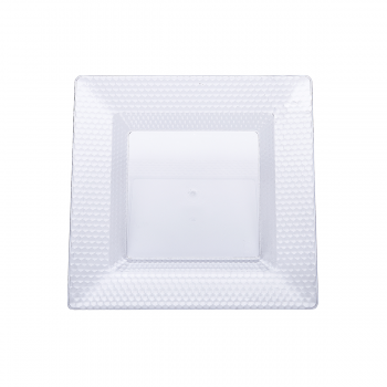 120 x Clear Square Hexagon Design Plastic Plates 6.5 inches