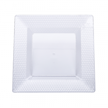 120 x Clear Square Hexagon Design Plastic Plates 8 inches