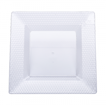 120 x Clear Square Hexagon Design Plastic Plates 10 inches