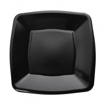 "7"" Black Square Plastic Side Plates – Case of 240"