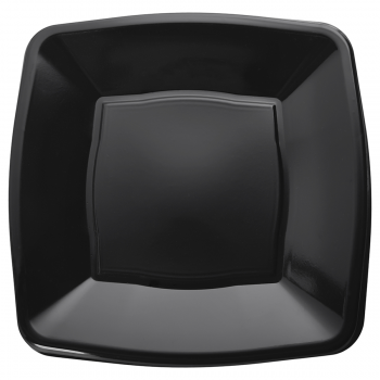 "9"" Black Square Disposable Plastic Party Dinner Plates – Case of 240"
