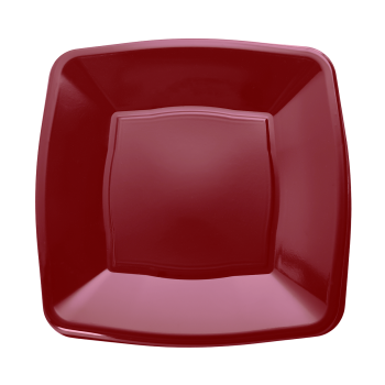 "Mashers 7"" Burgundy Plastic Wedding Party Square Disposable Side Plates – Case of 240"