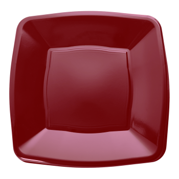 "Mashers 9"" Burgundy Plastic Square Disposable Party Dinner/Side Plates – Case of 240"