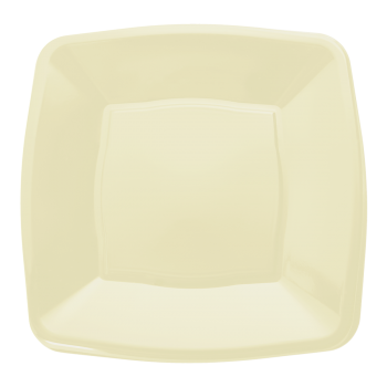 "9"" Cream Plastic Square Disposable Dinner Plates – Case of 240"