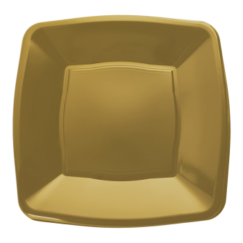 "Mashers 9"" Gold Plastic Square Disposable Party Dinner/Side Plates – Case of 240"