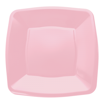 "Mashers 9"" Pink Plastic Square Disposable Party Dinner/Side Plates – Case of 240"