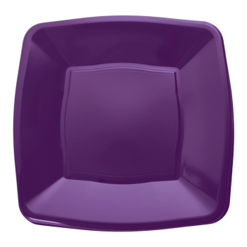 "Mashers 9"" Purple Plastic Square Dinner Plates – Case of 240"