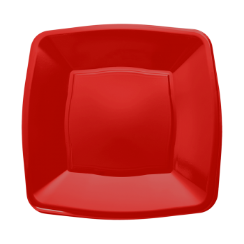 """Mashers 7"""" Red Plastic Wedding Party Square Disposable Side Plates – Case of 240"""