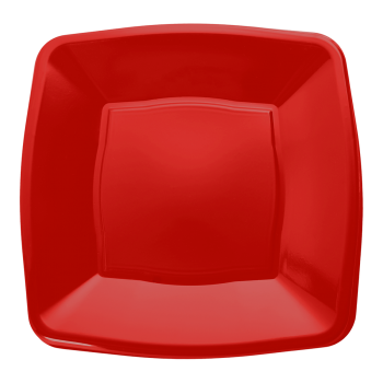 "Mashers 9"" Red Plastic Square Disposable Party Dinner/Side Plates – Case of 240"