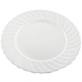 "216 x 9"" Elegantware Small White Plastic Dinner Plates"