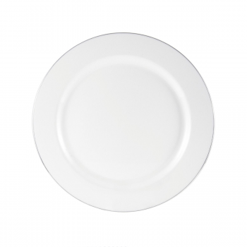 160x 7'' Strong Fancy White Plastic Side Plates - Silver Rim