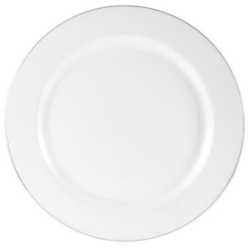 10x 9'' Strong Fancy White Plastic Dinner Plates -Silver Rim