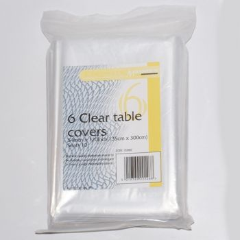 """60 x Clear Plastic Disposable Table Covers - 54 x 120"""""""