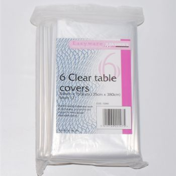 """60 x Clear Plastic Disposable Table Covers - 54 x 150"""""""