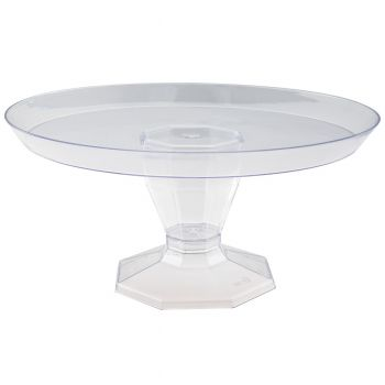 Mashers Clear Plastic Cake Stand Pedestal Serving Platter, Case of 48