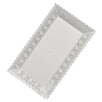 Mashers Nuovo 16x30cm Rectangular White Plastic Disposable Pastry/Dessert/Cake Tray - Case of 102