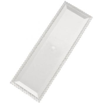 Mashers Nuovo 35x13cm Rectangular White Plastic Disposable Serving Tray Platters – Case of 96