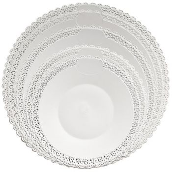 Mashers Trondo 32cm Round White Plastic Disposable Serving Trays – Case of 66