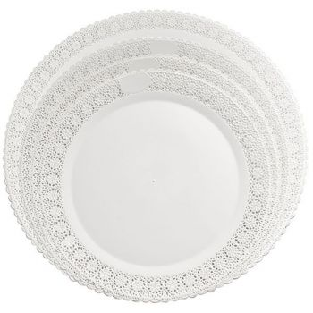 Mashers Trondo 38cm Round White Plastic Disposable Serving Plates – Case of 45