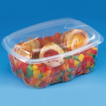 480 x Plastic Food Containers w/Lids - 750ml