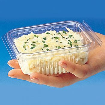 Mashers Optipack 370ml Rectangular Disposable Plastic Salad Containers with Lids, Case of 600