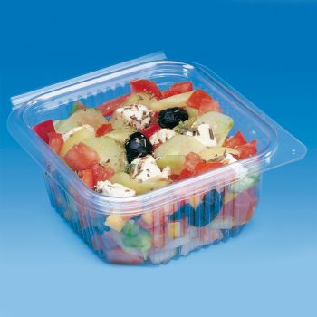 Mashers Optipack 500ml Rectangular Disposable Plastic Food Containers with Lids, Case of 600