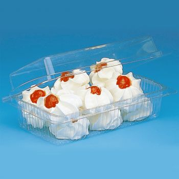 Mashers Clear Plastic Disposable Cake/Sushi Containers with Lids, Case of 336