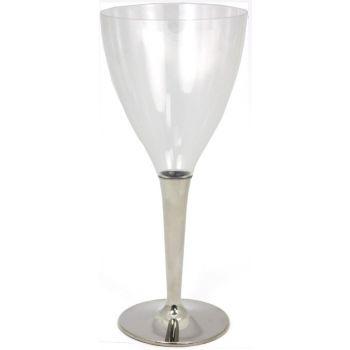 MOZAIK Silver Stemmed Plastic Wine Glasses (130ml) - Case of 60