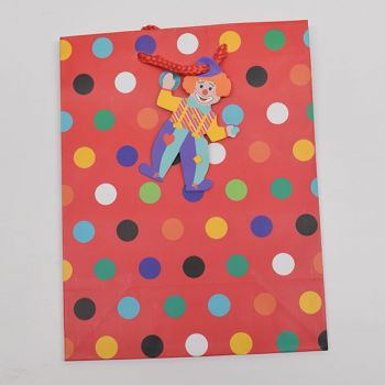 1 x Pink Purim Medium Gift Bag - Spotty