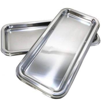 Mashers Stella 15x30cm Clear Plastic Disposable Rectangular Cake//Dessert Trays 3