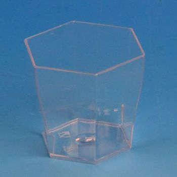 480 x 6cl Clear Disposable Plastic Miniature Hexagonal Cups