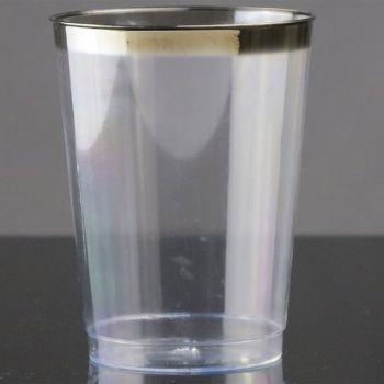 Mashers 10oz Elegant Disposable Plastic Tumblers Hi-Ball Glasses with Silver Rim – Case of 300