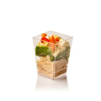 Mashers Kubik 60ml Mini Disposable Plastic Square Dessert Cup Shot Glasses – Packs of 500