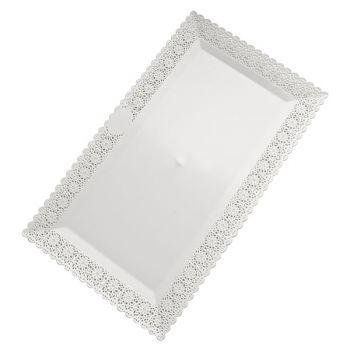 Mashers Nuovo 35x26cm Rectangular White Plastic Disposable Cake/Serving Platters – Case of 63