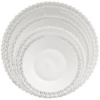 Mashers Trondo 25cm Round White Plastic Disposable Cake Trays – Case of 120