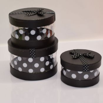 3 x Black Gift Boxes - Round/Spotty/Clear