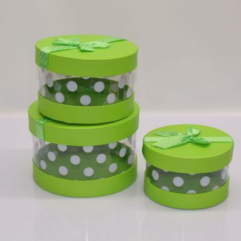 3 x Green Gift Boxes - Round/Spotty/Clear