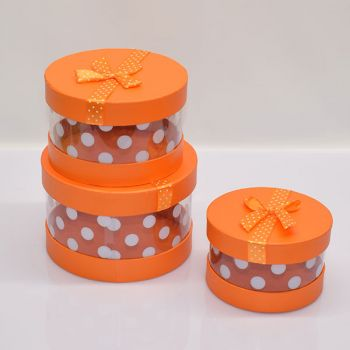 3 x Orange Gift Boxes - Round/Spotty/Clear