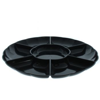Mashers 12'' Multi-Compartment Disposable Black Plastic Serving Platters – Case of 12