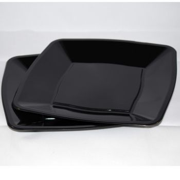 """9"""" Black Square Disposable Plastic Party Dinner Plates – Case of 240"""