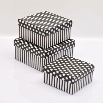 Black Square Cardboard Gift Boxes/Spotty Design|Set Of 3