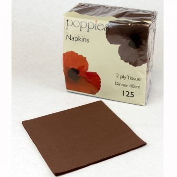 2000 x Chocolate Paper Tea Napkins Serviettes - 33cm/2ply