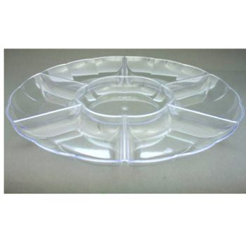 Mashers 12'' Multi-Compartment Clear Disposable Plastic Serving Platters – Case of 12