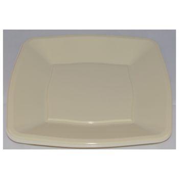 """9"""" Cream Plastic Square Disposable Dinner Plates – Case of 240"""